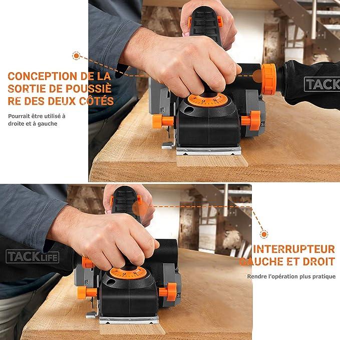 /Épaisseur des Copeaux 3 mm Largeur de Rabotage 82 mm R/égime /à Vide 14500 RPM EPN02A Tacklife Rabot 900W Rabot /Électrique un Guide Parall/èle et un Sac /à Poussi/ère