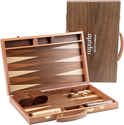 Travel Backgammon Set Wooden Board Game With Pieces Black /& White 20