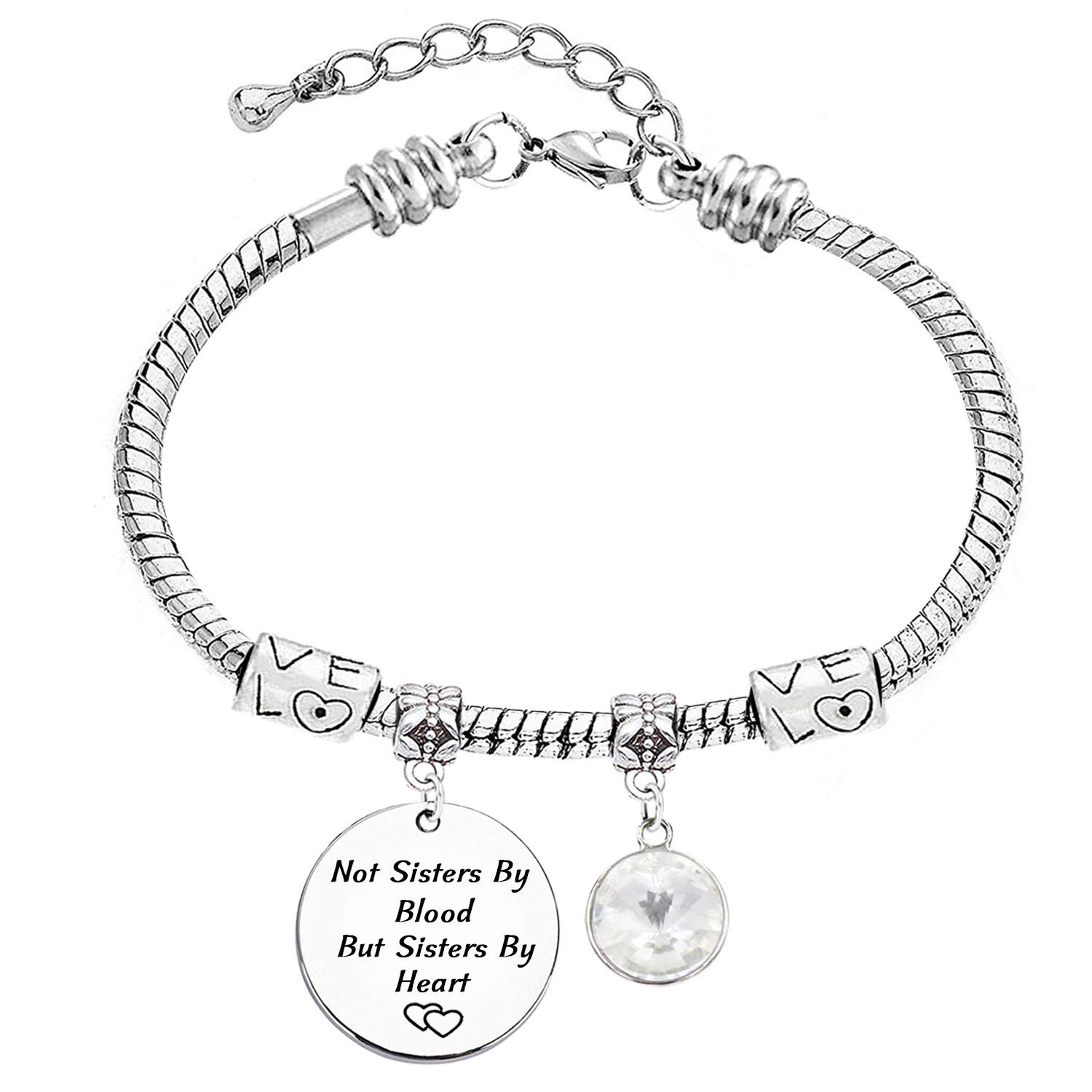LINKY Best Friends Jewelry Not Sisters by Blood But Sisters by Heart Charm Stainless Steel Snake Chain Bracelet 12 Color Crystal Charm
