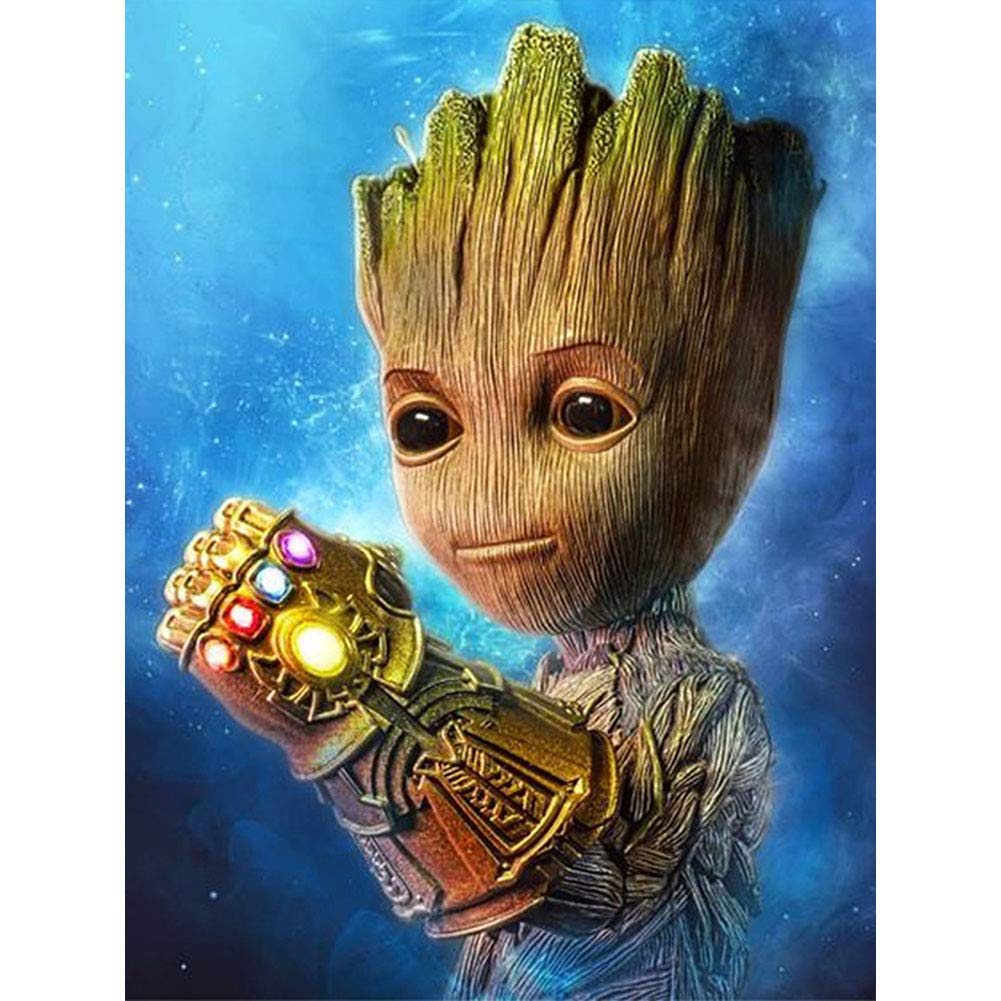 DIY 5D Diamond Painting Kits For Kids & Adults, Betionol Full Drill Crystal Rhinestone Painting By Number Kits With The Theme Of Marvel Groot, Perfect Gift For Kids, 12 x 16 inch by Betionol