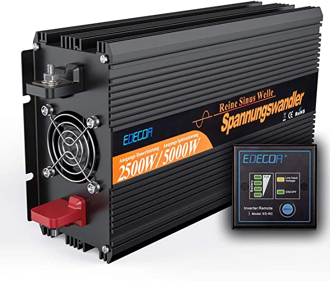 Edecoa Wechselrichter Reiner Sinus 2500w Spannungswandler 12v 230v Mit Fernbedienung 2x Usb Spannungswandler 2500w Stromumwandler Power Inverter Kfz Auto