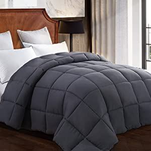 Queen Comforter Soft Warm Goose Down Alternative Duvet Insert 2100 Quilt with Corner Tab for All Season, Prima Microfiber Filled Reversible Hotel Collection,Grey,88 X 88 inch