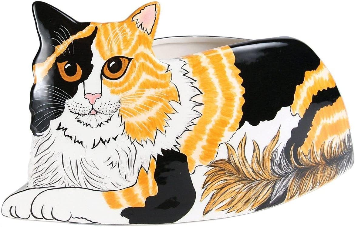 Rescue Me Now Pavilion Gift, Calico Cat Planter Vase, 6-1 2-Inch Tall
