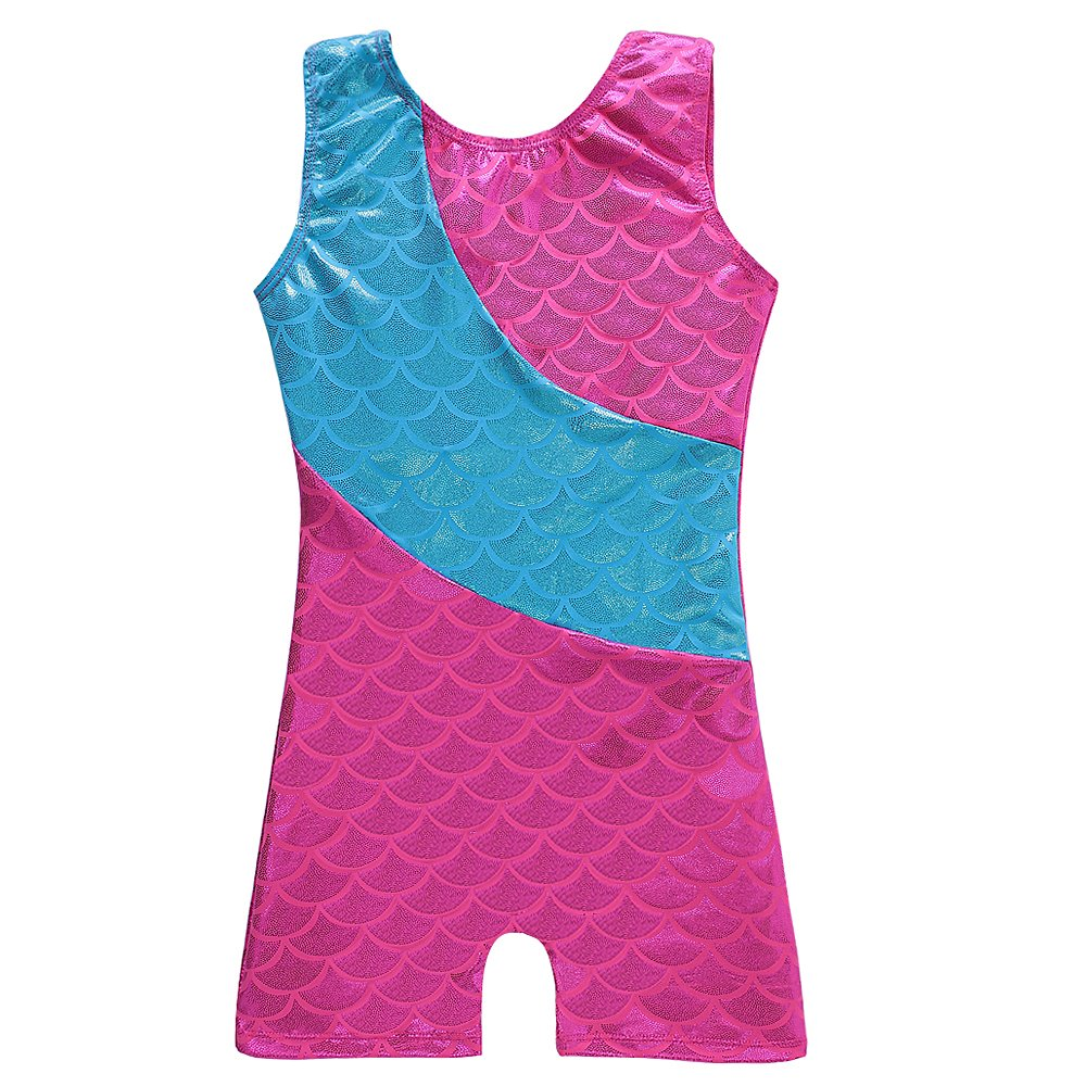 Colorful Ribbons Mermaid Rainbow Gymnastics Biketard Shortall for Little Girl DAXIANG