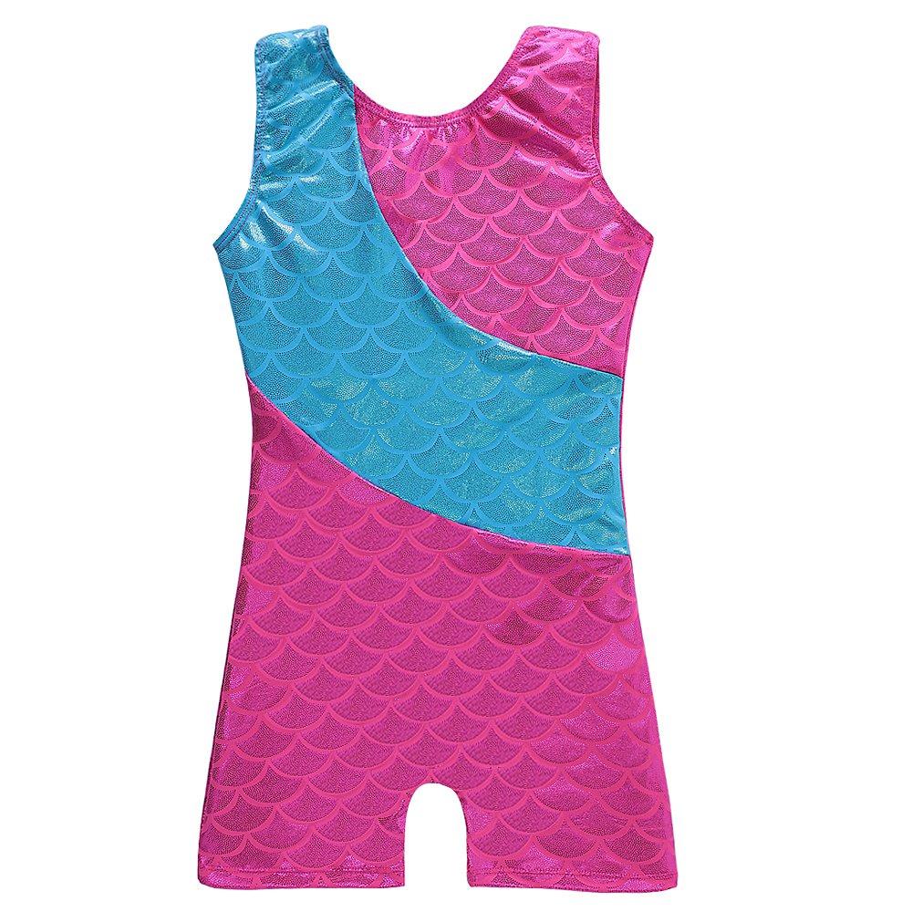 Colorful Ribbons Mermaid Rainbow Gymnastics Biketard Shortall for Little Girl DAXIANG