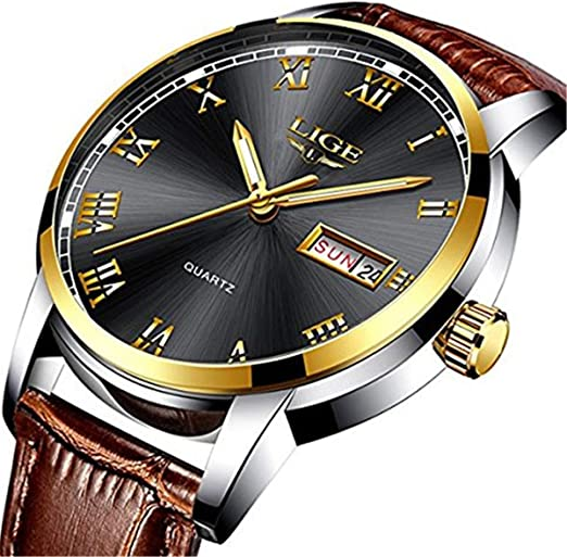 ef887fa68 Mens Black Watches Waterproof 30M Date Calendar Wrist Watch for Men  Teenager Boys,Leather Band Fashion Casual Luxury Business Men Sport Watches:  ...