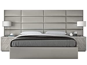 """Vänt Upholstered Wall Panels - King/Cal King Size Wall Mounted Headboards - Metallic Neutral - Panel Size 39"""" Wide x 11.5"""" High - Pack of 4 Panels"""