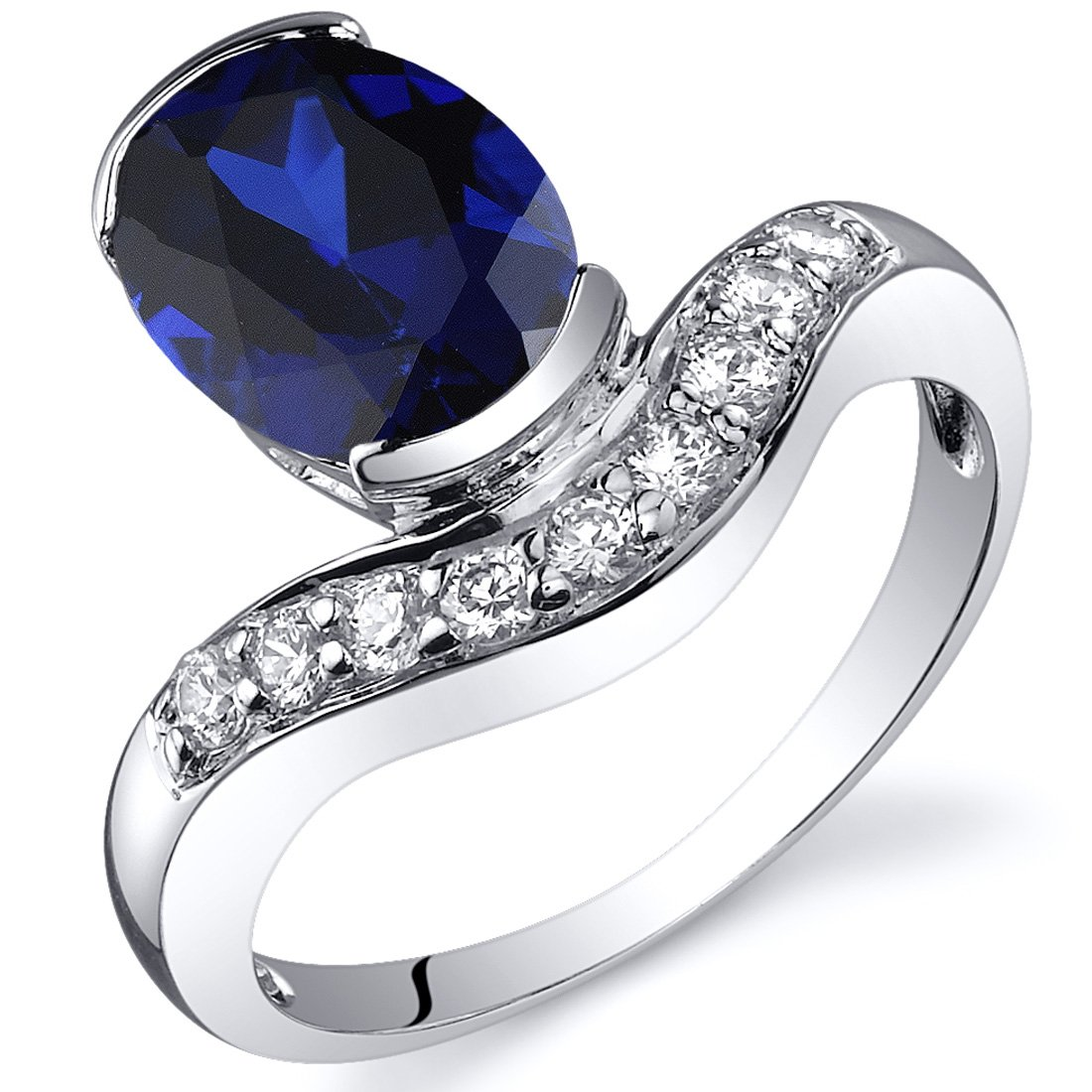 Channel Set 2.75 carats Created Blue Sapphire Ring in Sterling Silver Rhodium Nickel Finish Sizes 5 to 9