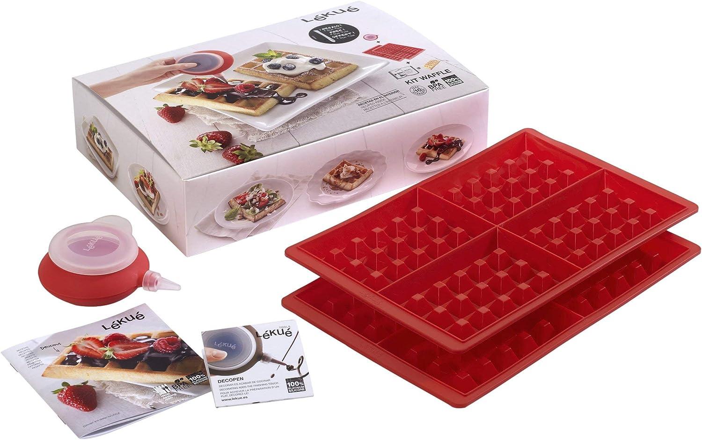 Lékué- Kit para elaborar gofres, dos unidades, color rojo: Amazon.es: Hogar