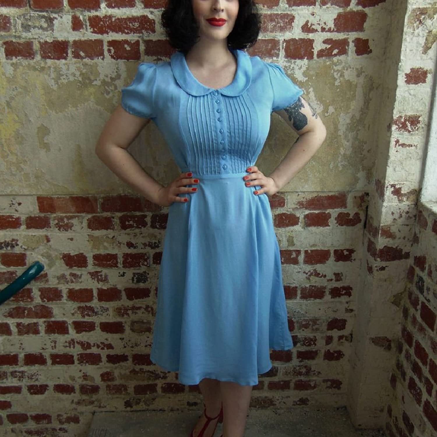 1940s Style Dresses | 40s Dress, Swing Dress Seamstress Of Bloomsbury 1940s Dorothy Wrap Dress $80.06 AT vintagedancer.com