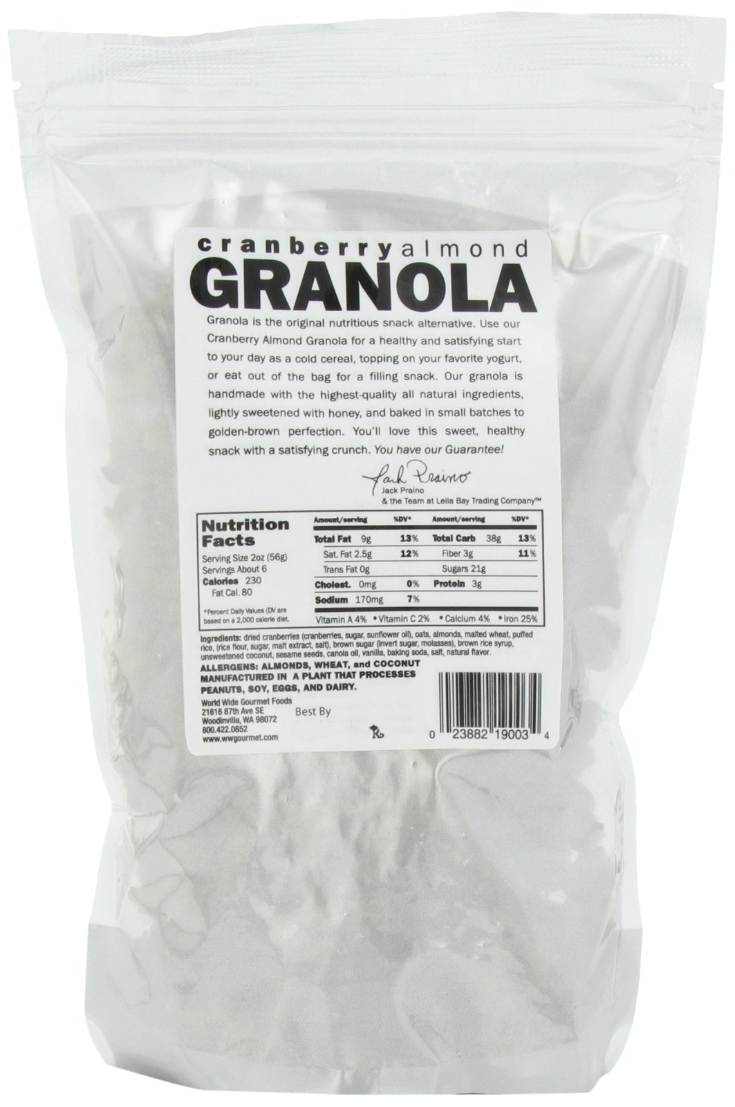 Leila Bay Trading Company Cranberry Almond Granola, 12-Ounce Pouches (Pack of 3)