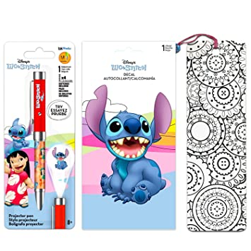 Disney Lilo and Stitch Pen Set ~ Includes Deluxe Projector Pen, Lilo and Stitch Decal Sticker, and Bookmark (Lilo and Stitch Party Favors)