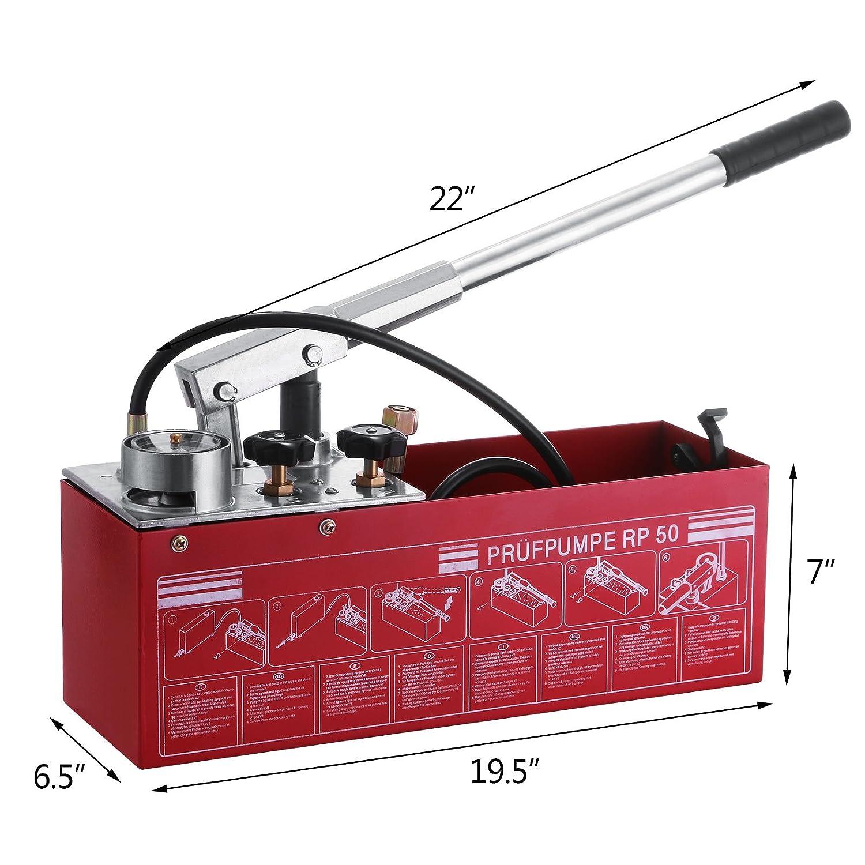 Autovictoria Bomba comprobación 50 BAR 726 PSI Manual bomba de prueba 3 gallon Depósito con doble válvula sistema hidráulico bomba de prueba 45 ml flujo 1 ...