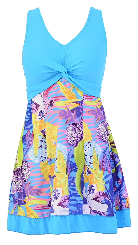 Ecupper One Piece Shaping Body Floral Swimwear Swimdress Plus Size Bathing Suit Women