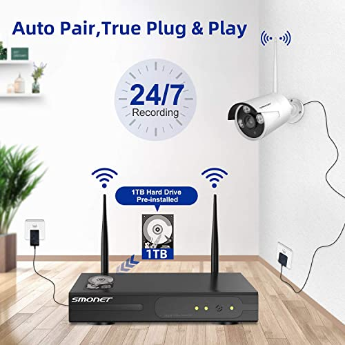 1TB Hard Drive Pre-installed SMONET 1080P Wireless Security Camera System,8-Channel Full HD Wireless Home Camera System, 4pcs 2.0MP Indoor Outdoor Surveillance Cameras,P2P,Super Night Vision,Free APP