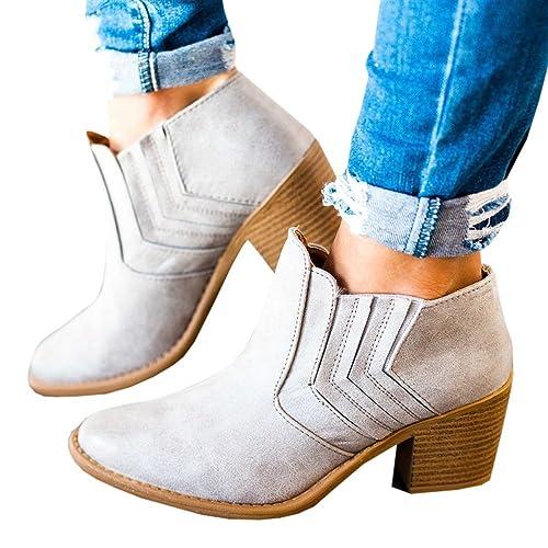 Kootk Botas para Mujer Tobillo Otoño Invierno Corte apilada Medio Tacón bajo Occidental en Punta Botines: Amazon.es: Zapatos y complementos