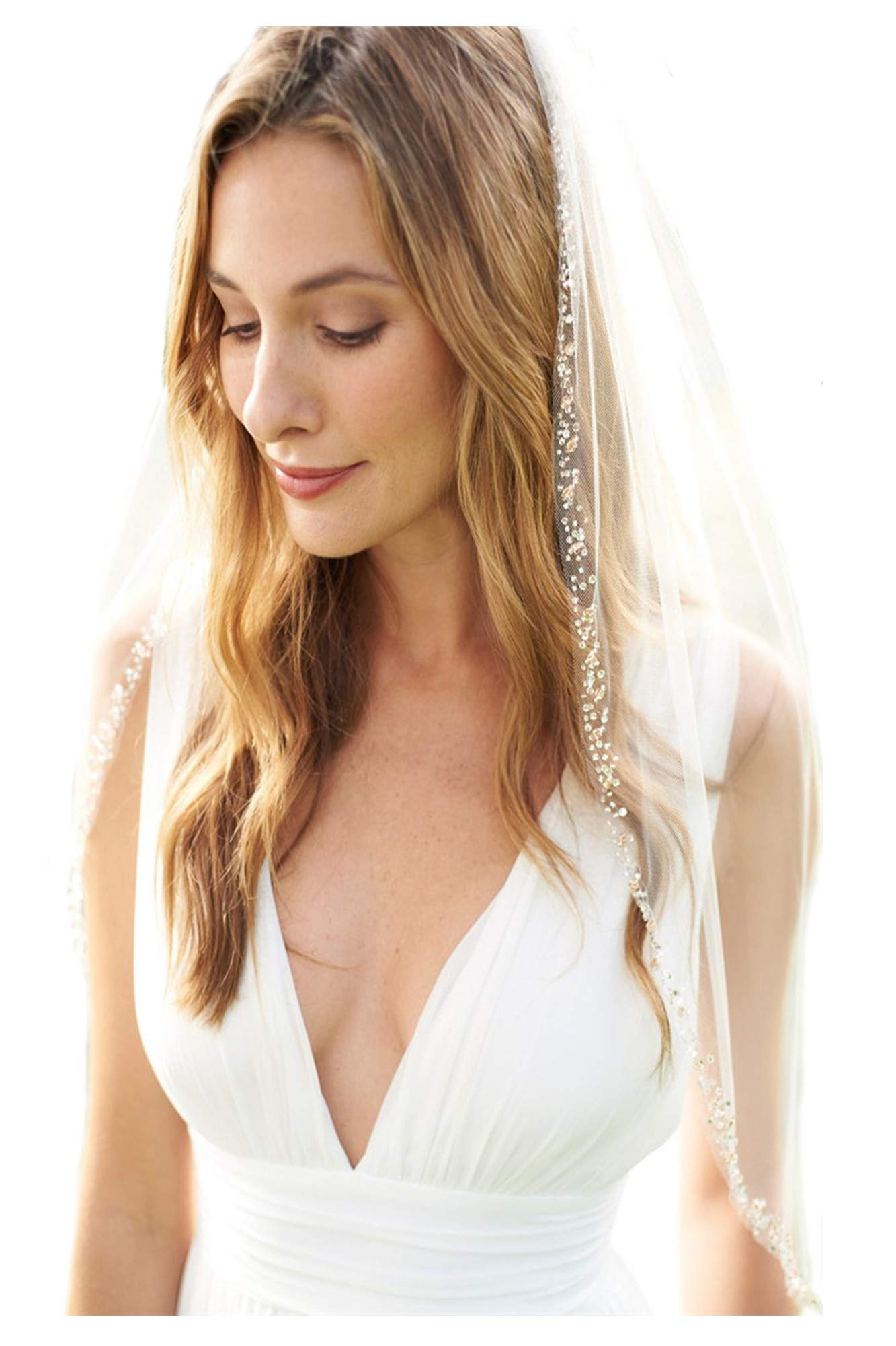 Passat Champagne 1T Fingertip Rose Gold Beaded Edge Wedding Veil Blush Beaded Bridal Veil 123 by Passat