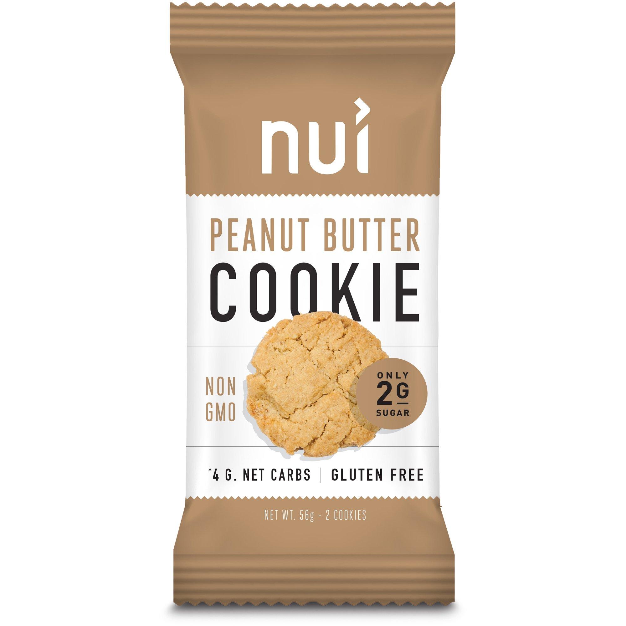 Keto Cookies, Low Carb Snacks: Peanut Butter Cookies by Nui - Keto Snacks, Low Carb, Low Sugar, 4g Net Carbs, Gluten Free - 8 Pack (16 cookies)