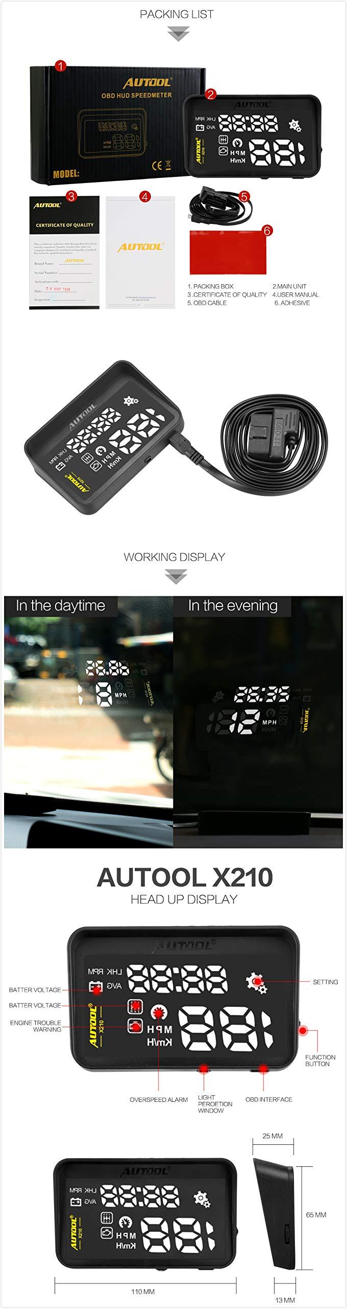 YARUIFANSENSJ AUTOOL X210 Auto HUD Car Head Up Display Digital Speed Windshield Projector Vehicle Projection Automotive OBD 2 II Speedometer