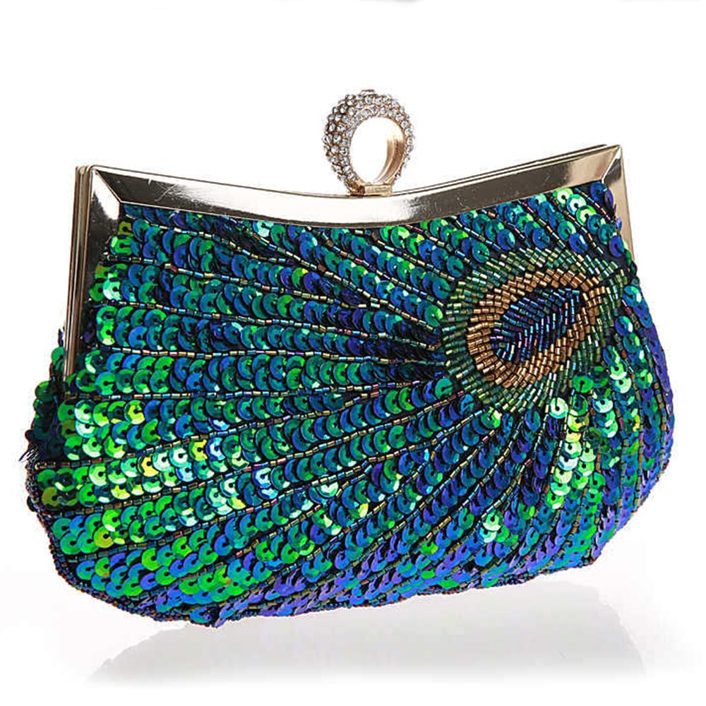 Myleas Women's Folk Style Beaded Peacock Wallet Party Evening Wedding Cocktail Handbag Clutch Bag