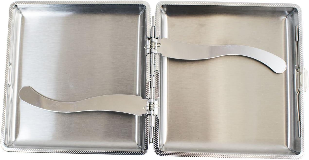 Gearmax/® Funda met/álica negra de cigarrillos forrada en piel de imitaci/ón