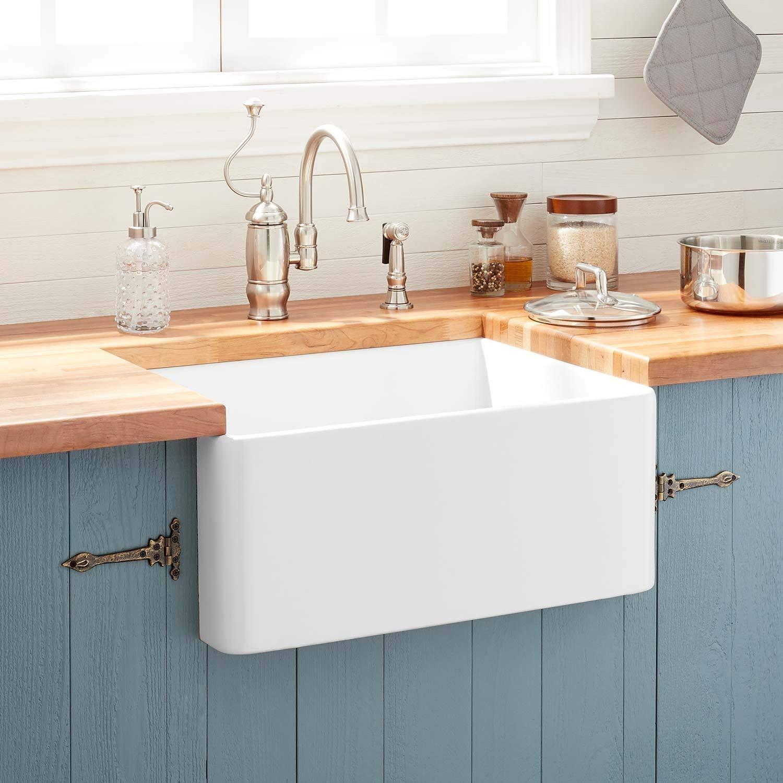 Signature Hardware 393676 Reinhard 24  Farmhouse Single Basin Fireclay Kitchen Sink - - Amazon.com & Signature Hardware 393676 Reinhard 24