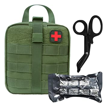 Tactical Trauma MOLLE Pouch Set-BUSIO IFAK EMT First aid Pouch-Military  Small Emergency Survival Kit-Medical Bandage Scissors Paramedic Bag for