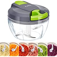 Manual Food Chopper, 3 Blades Manual Pull String Food Processor, Hand held Pro Onion Chopper Dicer for Vegetables/Meat…