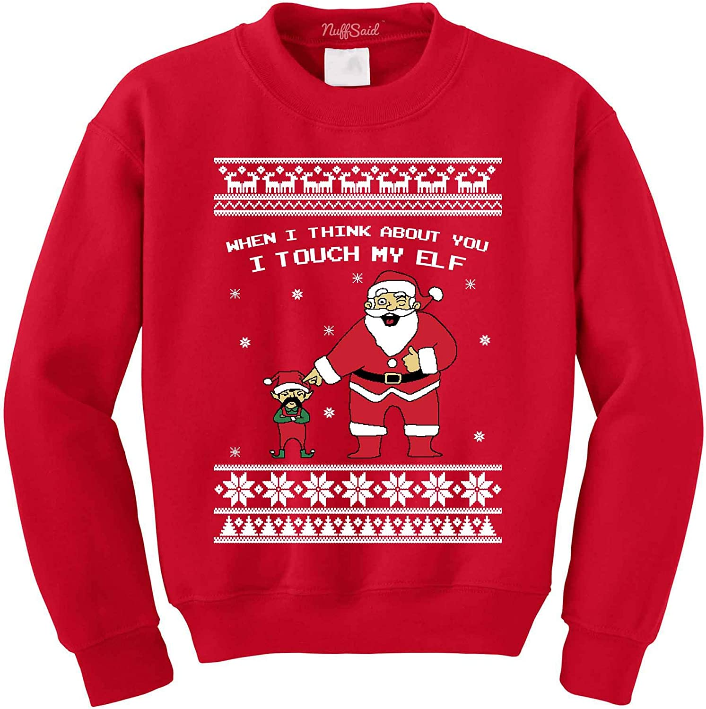 I Touch My Elf Funny Christmas Crewneck Sweatshirt funny Xmas tee
