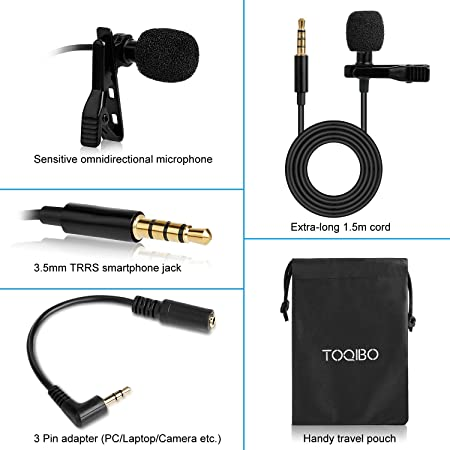 Clip on Microphone TOQIBO 3 5mm Lavalier Lapel Omnidirectional Condenser  Microphone with 360°High Sensitivity Condenser Support for Smartphone, PC,