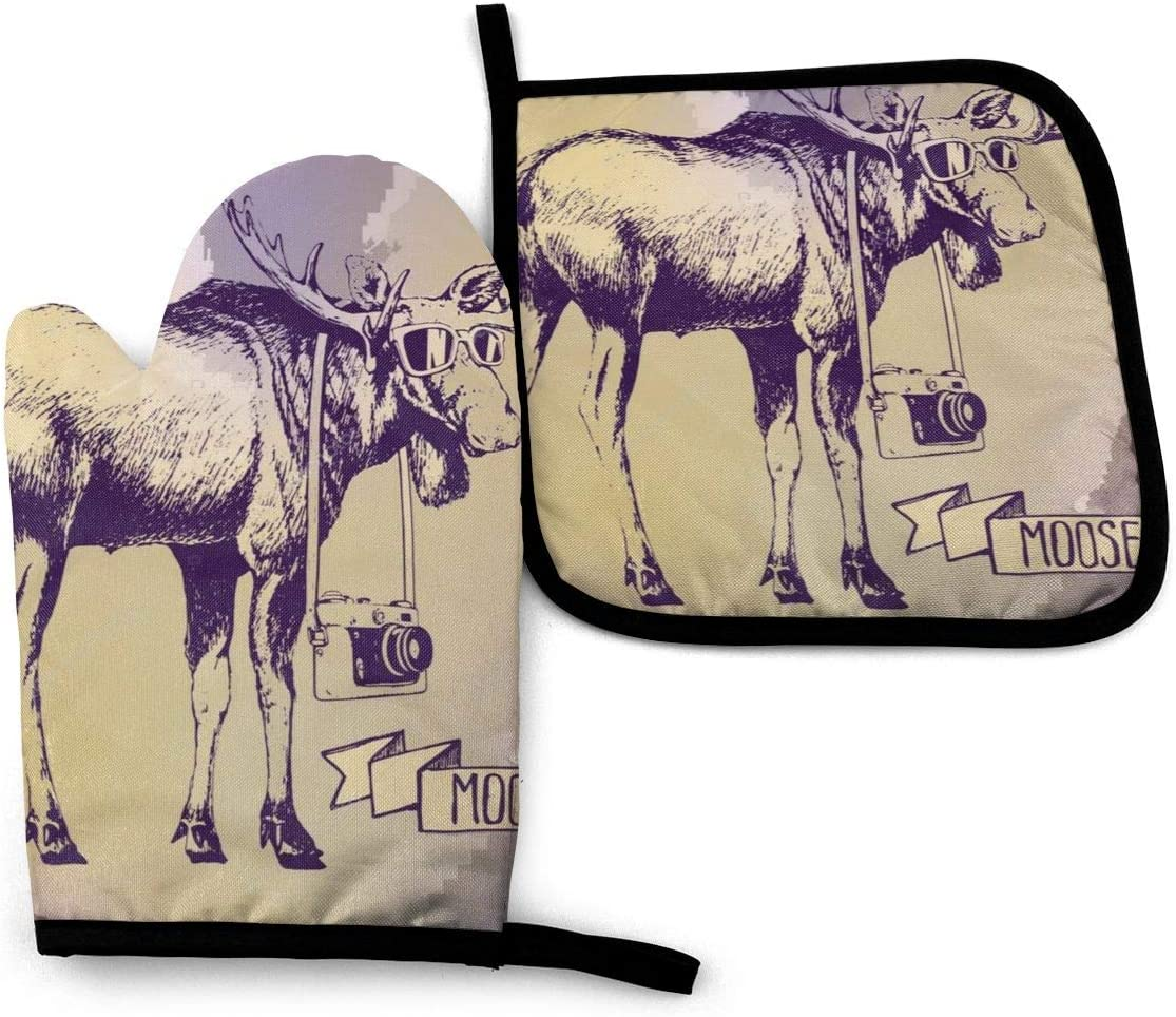 Oven Mitt & Pot Holders Set,Cool Moose Kitchen Heat Resistant and Washable for Cooking Baking Grilling and BBQ Decorative Baking Kitchen Gift