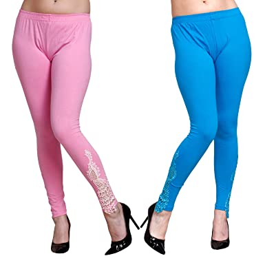 f25a0815d20ec Livener Designer Peacock Patch Ankle Length Leggings for Women (Baby Pink &  Turquoise Blue Color - XL): Amazon.in: Clothing & Accessories