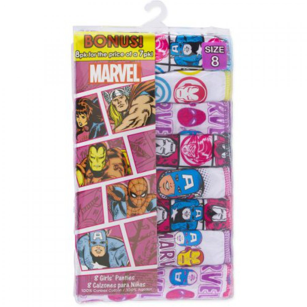 7 Pack PLUS Bonus Panties Marvel Comics Avengers Girls Hipster 8 Panties