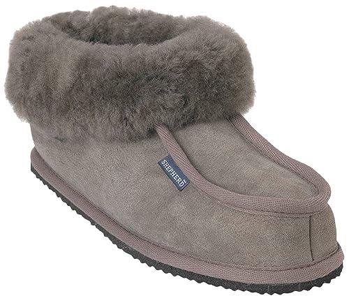 4b0acb80 Shepherd - Zapatillas de estar por casa de cuero para hombre gris ...
