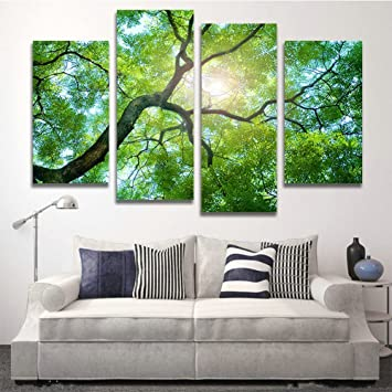 Amazoncom Hcozy 4 Panels Green Tree Painting Canvas Wall Art