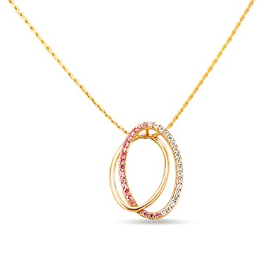 ba08ec2080e1c Buy Mia by Tanishq 14KT Rose Gold, Diamond and Sapphire Pendant for ...