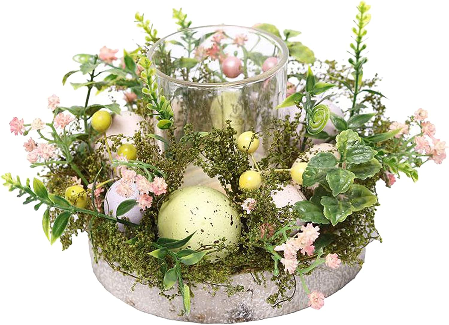 Decorative Glass Tealight Candle Holder Set Mini Candle Rings Wreaths Tabletop Centrepiece MagiDeal Easter Candle Holder Rings with Decorative Floral Eggs