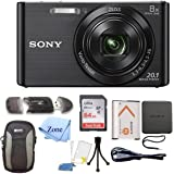 Sony DSC-W830 Cyber-Shot 20.1MP Digital Camera + 64GB Memory Card & Accessory Bundle (Black)