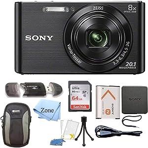 Sony DSC-W830 Cyber-Shot 20.1MP Digital Camera + 64GB Memory Card & Accessory Bundle (Black)