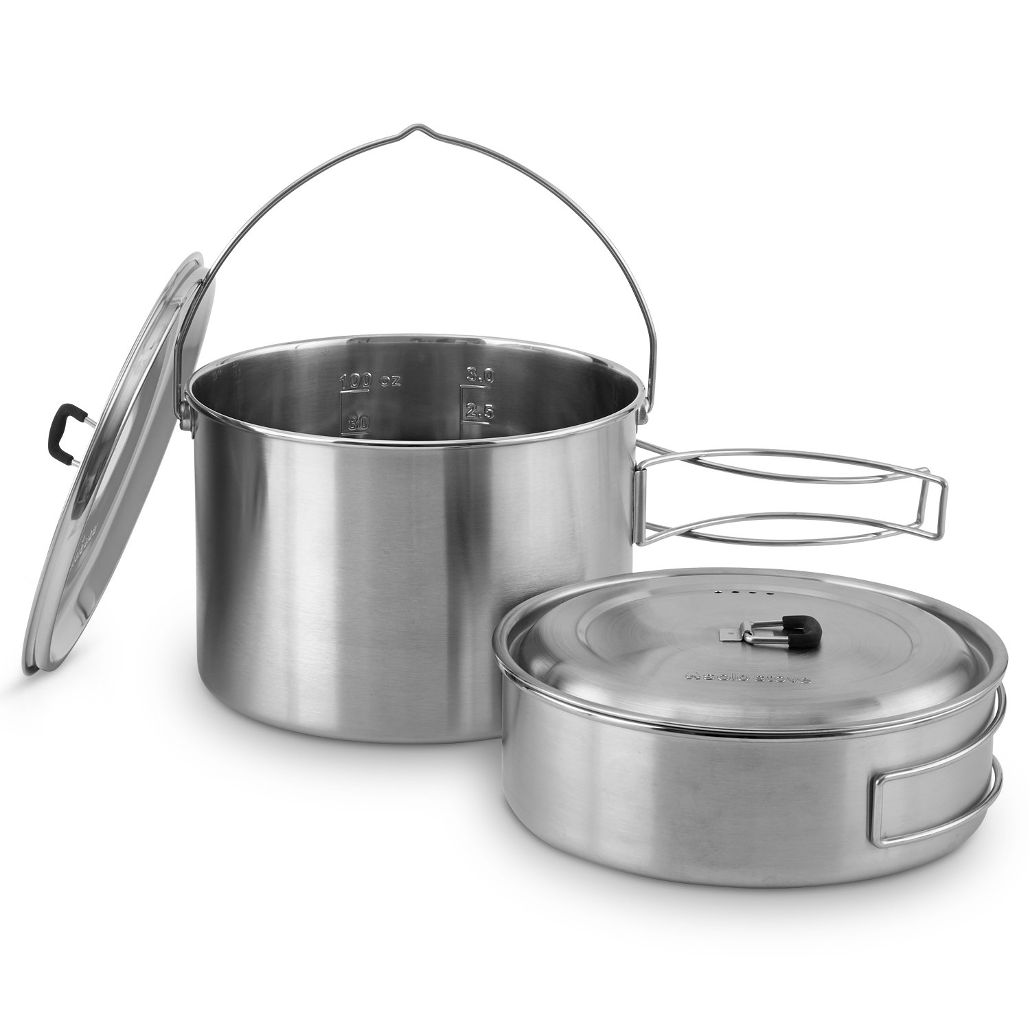 Solo Stove 2 Pot Set: Stainless Steel Companion Pot Set for Campfire. Great for Backpacking, Camping, Survival