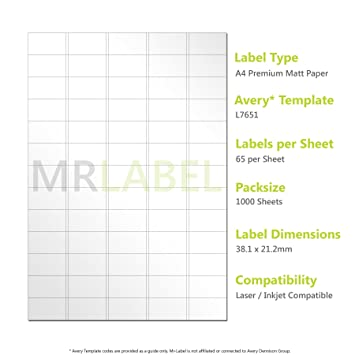 Avery Compatible Labels L7651 J8651 65 Labels Per Page 1000