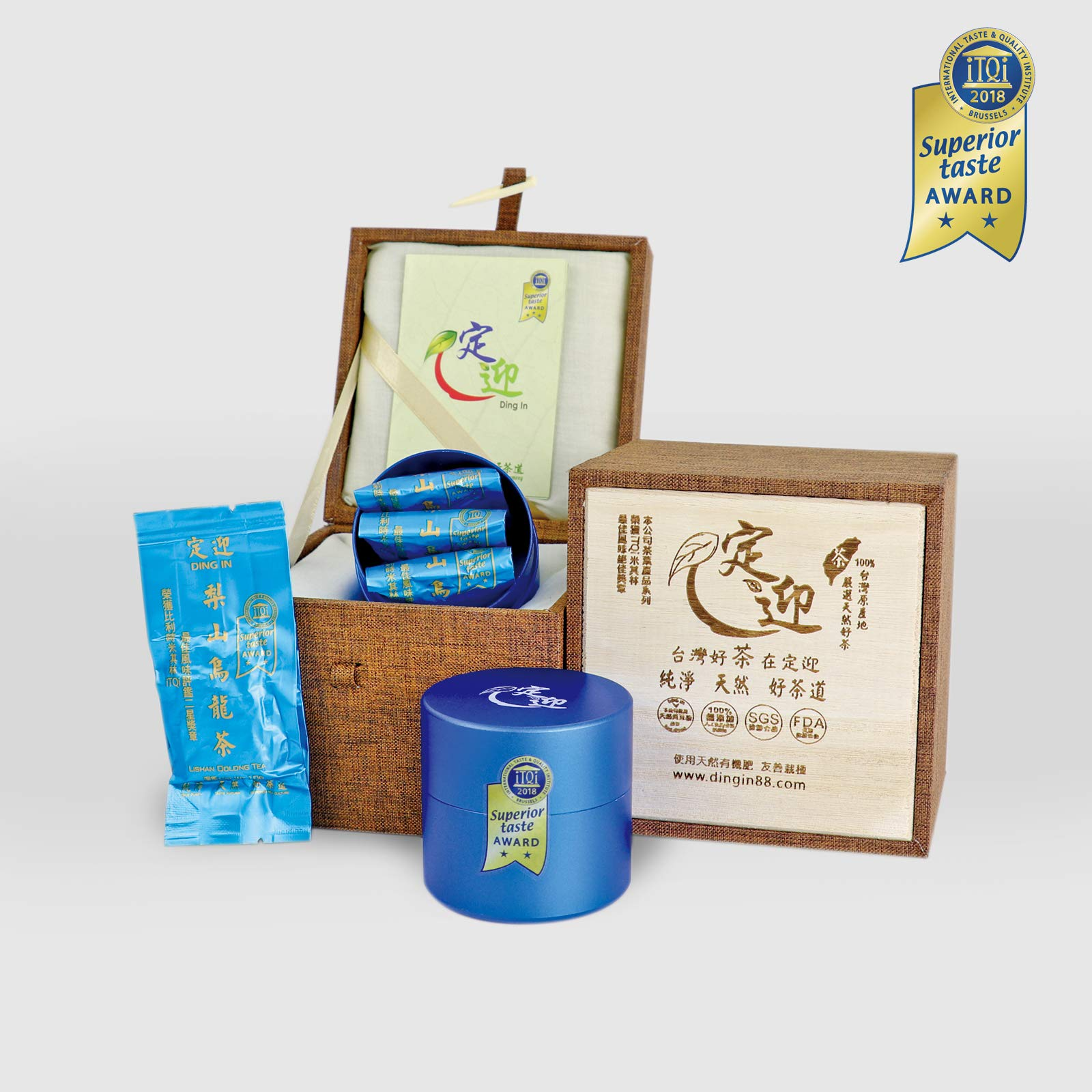 DING IN Lishan Oolong Tea Horn Buckle Wooden Box 10g3bag/can X2 by Ding In ltd. (Image #1)