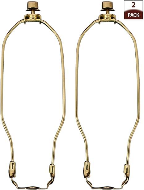 "2 Lamp Shade Harp 9/"" polished brass"