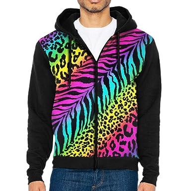 a16eb613bd Mars Sight Sweatshirt Men's Rainbow Animal Zebra Print Full Zip Up Hoodie  Jacket with Pocket