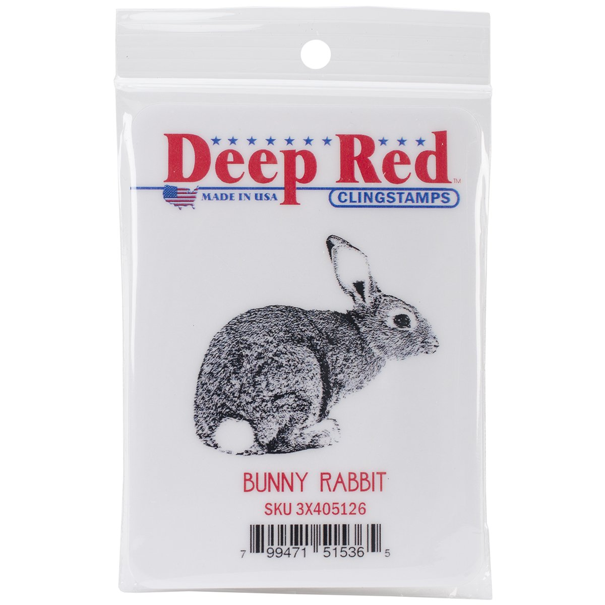 Deep Red Stamps Bunny Rabbit Rubber Stamp