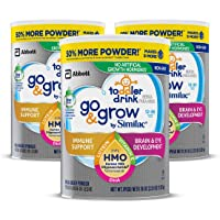 3-Count Go & Grow by Similac Non-GMO Toddler Milk-Based Drink with 2-FL HMO for Immune Support, Powder, 36 oz,