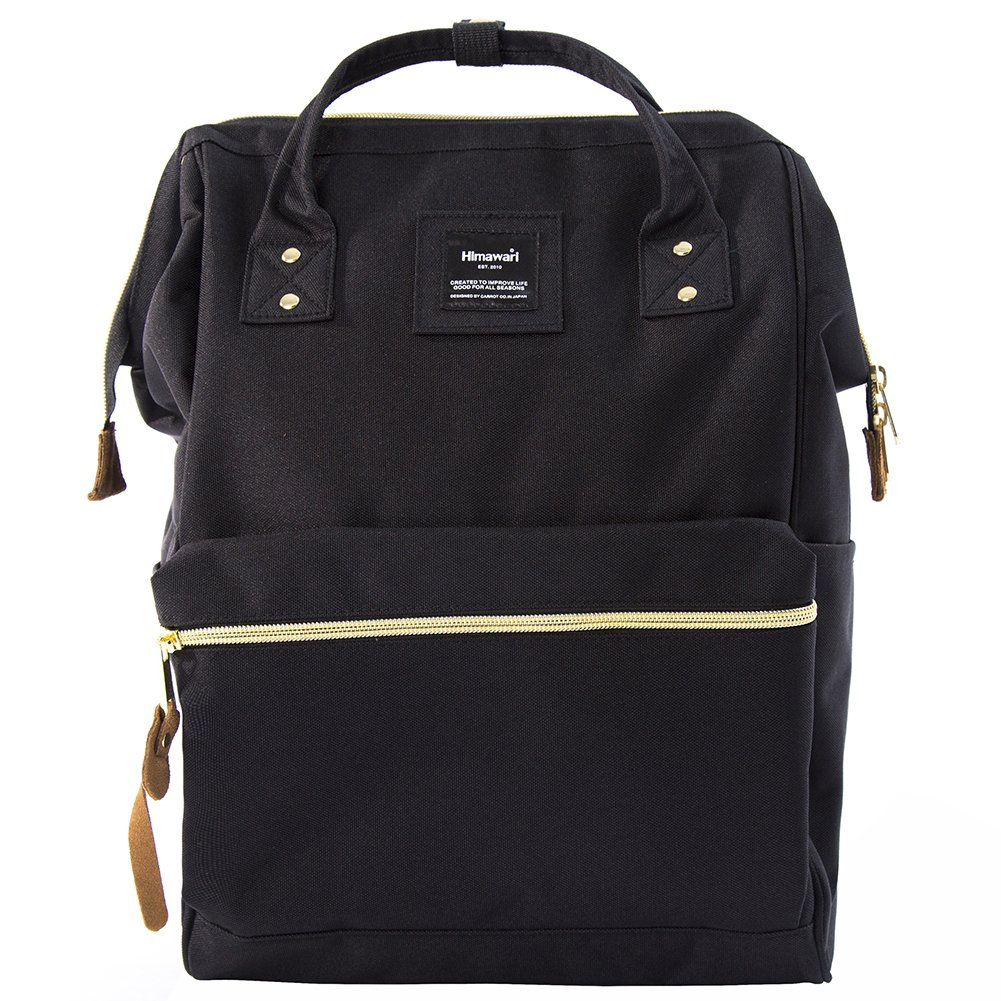 Himawari Travel Backpack Large Diaper Bag School multi-function Backpack for Women&Men 11''x16''x6.3''(Black)