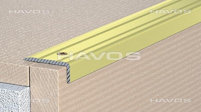 Perfil de cantos de escaleras para escalones de ángulo de escaleras - enroscado - 25 x 20 mm - de aluminio anodizado: Oro (C de 07): Amazon.es: Bricolaje y ...