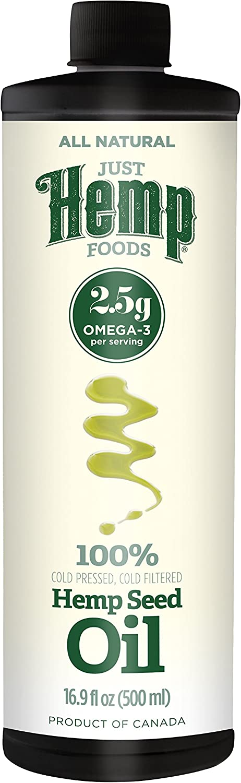 Just Hemp Foods All Natural Hemp Seed Oil, Cold Pressed, Cold Filtered, 2.5g Omegas Per Serving, 16.9 Fl Oz