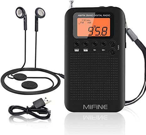 Mini radio de bolsillo, Mifine Radio AM FM portátil Altavoz de sonido claro Multifuncional Reproductor de música Reloj despertador y temporizador con auricular (Radio Negro): Amazon.es: Electrónica
